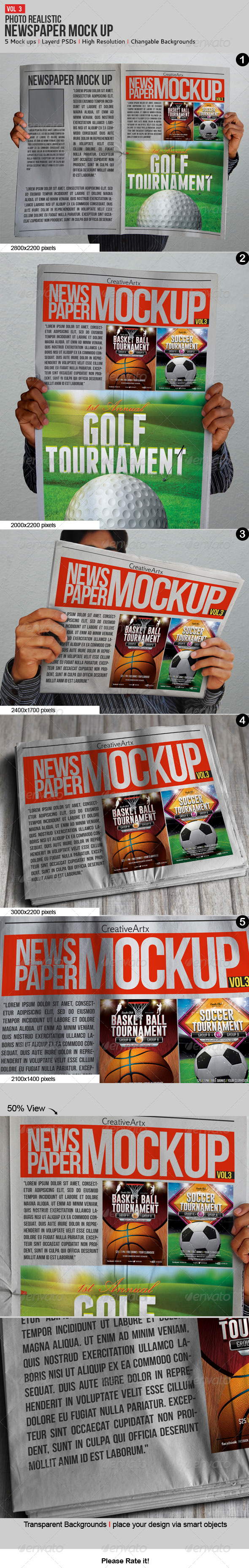 Newspaper / Newsletter Mock-Up - V.3 - Product Mock-Ups Graphics