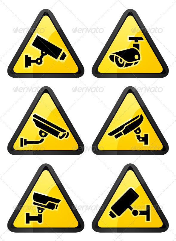 GraphicRiver Six Video Surveillance Symbols Triangular Shape 6810273