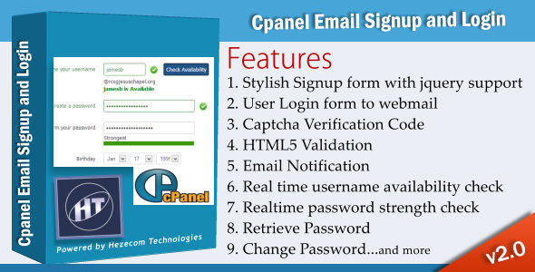 Cpanel Email Signup and Login - CodeCanyon Item for Sale