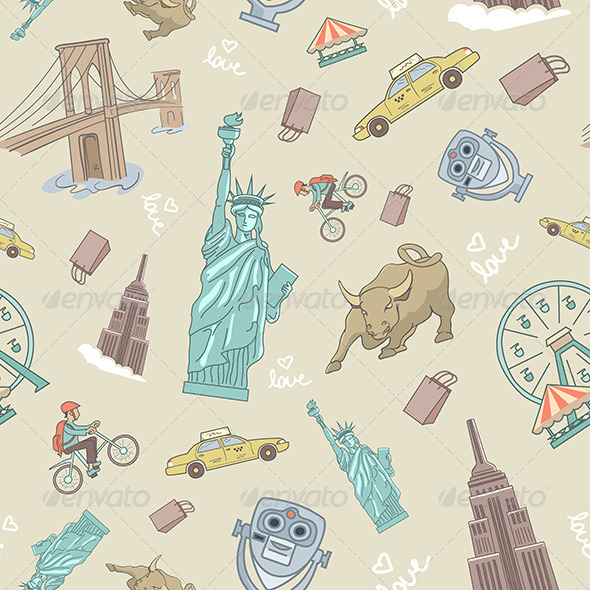 GraphicRiver New York Seamless Pattern 6812554