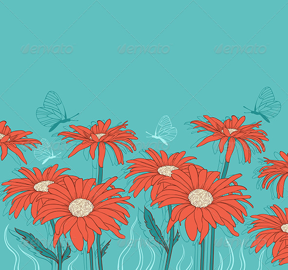 GraphicRiver Green Background with Red Gerbera 6812746