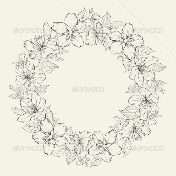 GraphicRiver Floral Wreath Wedding Design 6813016