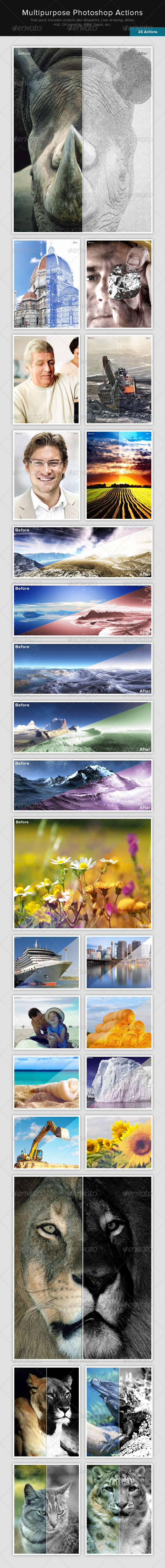 GraphicRiver 26 Multipurpose Photoshop Actions 6813050