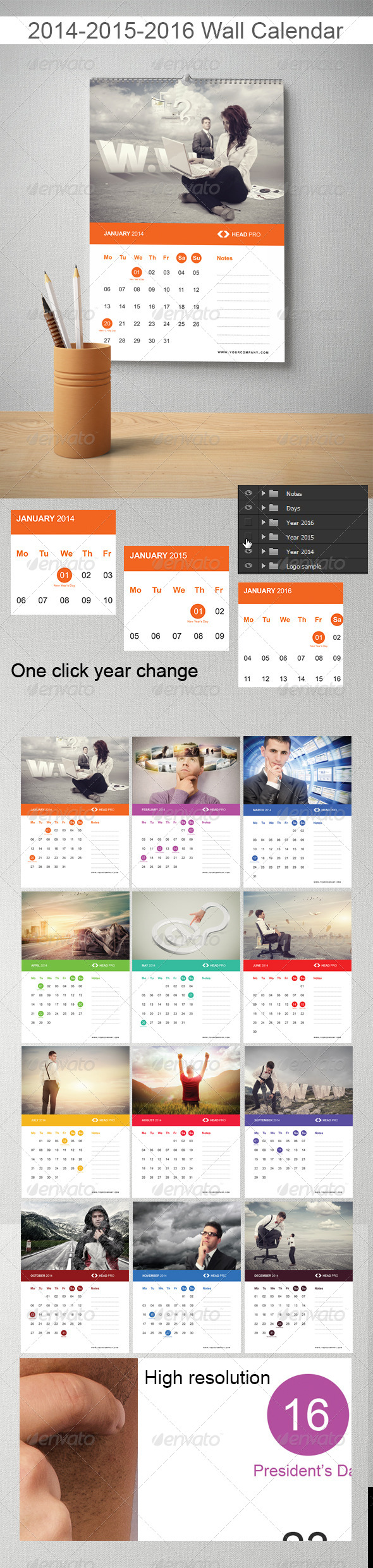 GraphicRiver 2014 2015 2016 Wall Calendar 6814152