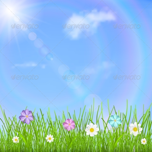 GraphicRiver Background with Sky Grass and Flowers 6815120