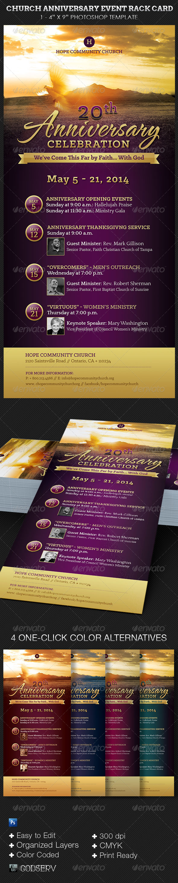 GraphicRiver Church Anniversary Events Rack Card Template 6815189