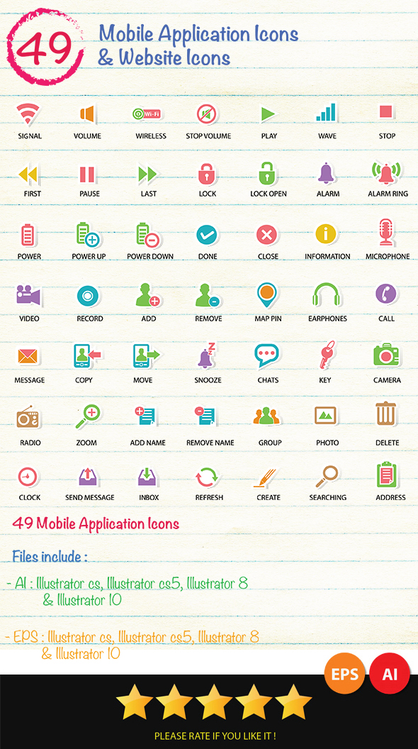 GraphicRiver 49 Mobile Application & Web Icons Icons 6815443