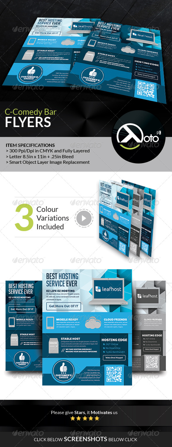 GraphicRiver Leaf Host Web Hosting Flyers 6815665