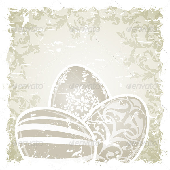 GraphicRiver Grungy Easter Background with Decorated Eggs 6817094