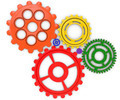 Color gears on white background. 3d rendered - PhotoDune Item for Sale