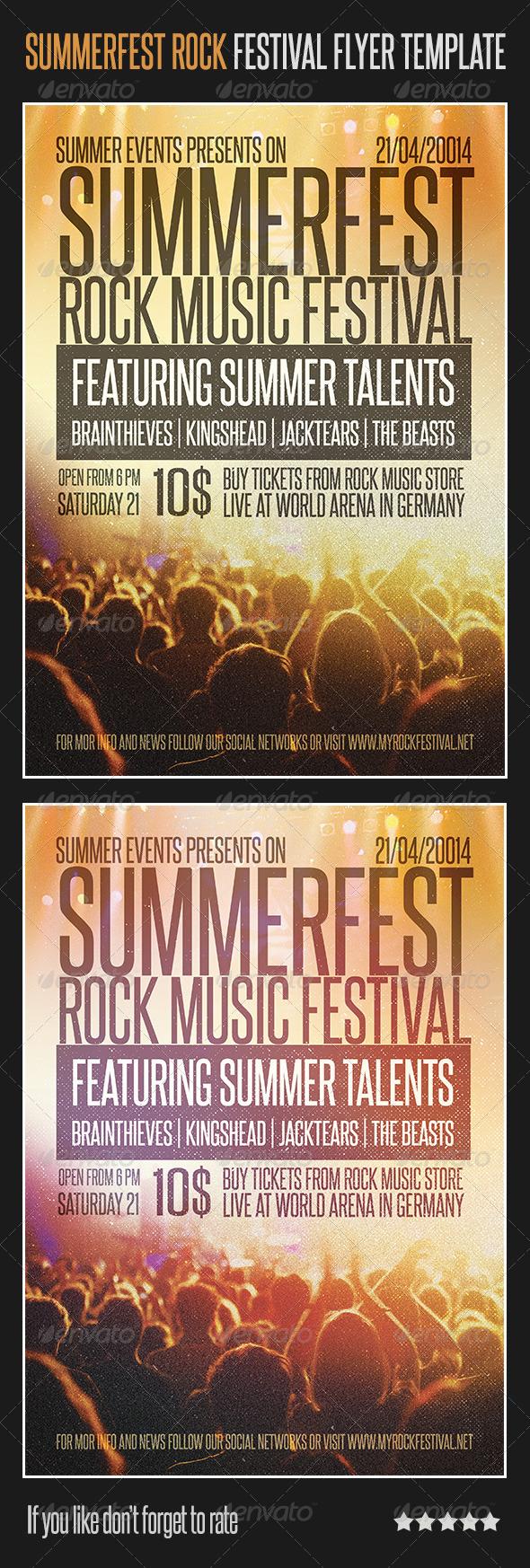 GraphicRiver Summerfest Rock Festival Flyer Template 6818521