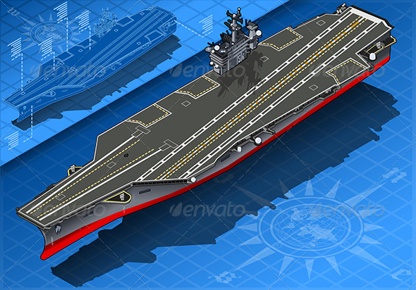 GraphicRiver Isometric Aircraft Carrier in Front View 6819105