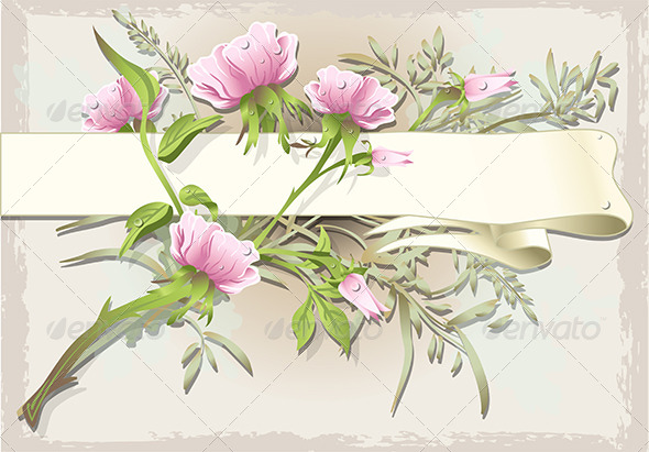 GraphicRiver Vintage Flower Ornament with Banner 6819124