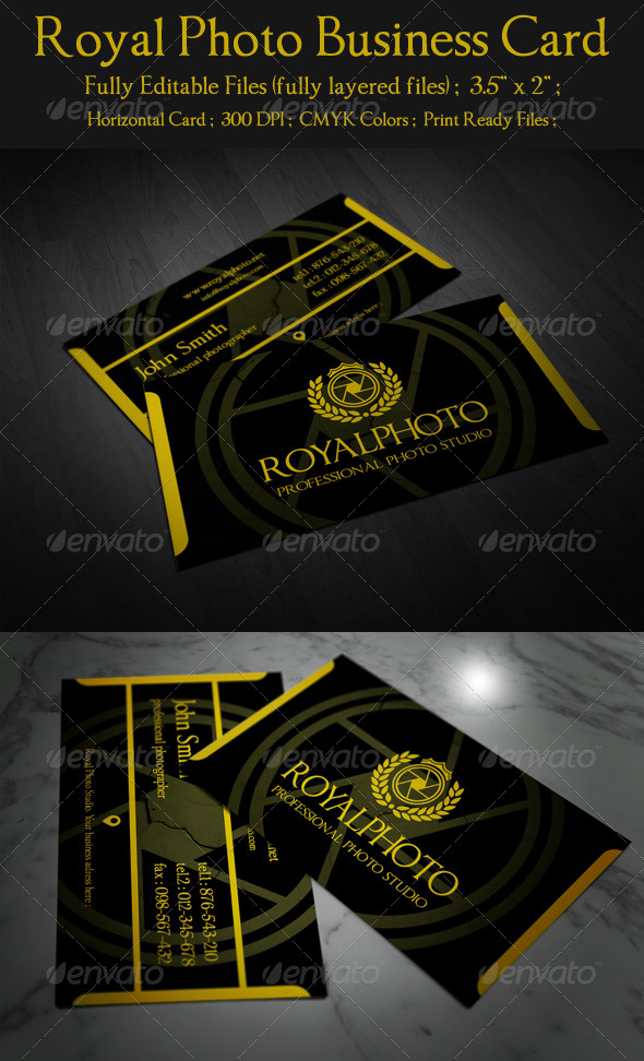 Royal Photo Business Card - Industry Specific Business Cards