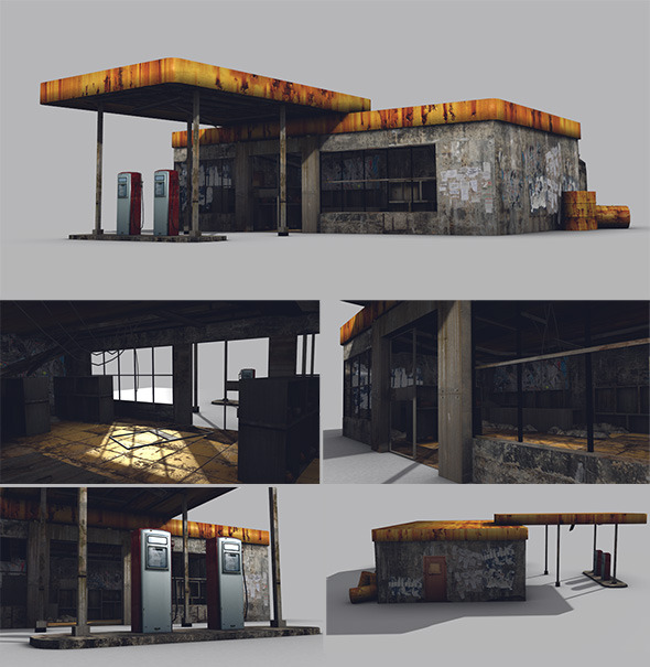 3DOcean Low Poly Abandoned Gas Station Game Model 6819685