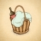 Vintage Picnic Basket - GraphicRiver Item for Sale