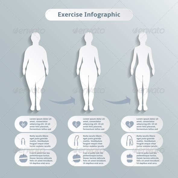 GraphicRiver Infographic Elements for Women Fitness 6820411