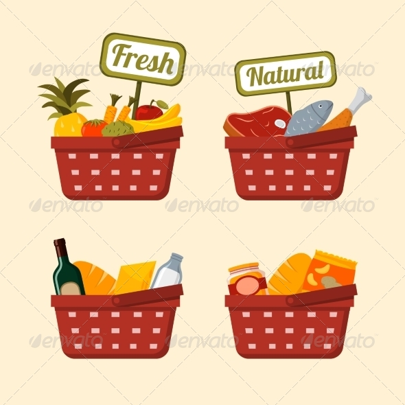 GraphicRiver Shopping Basket Set with Foods 6820421