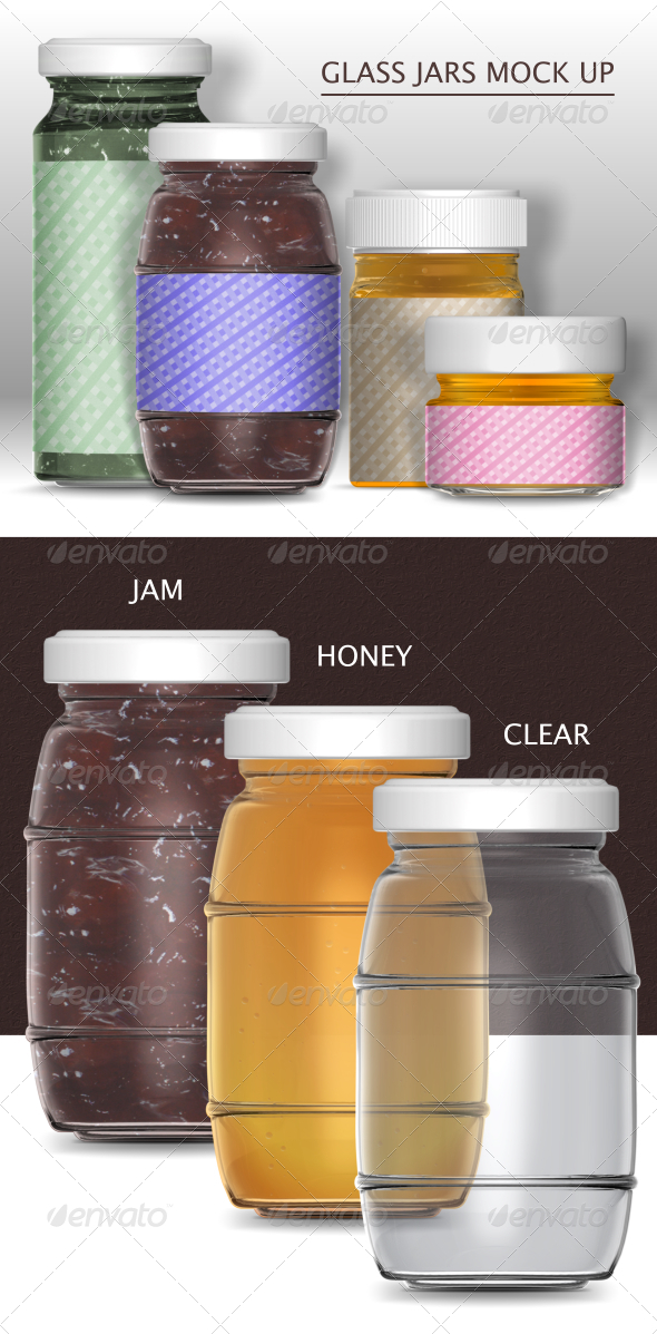 GraphicRiver Glass Jars Mock-Up 6814307