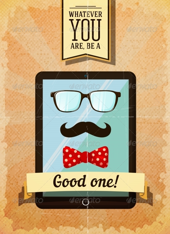 GraphicRiver Hipster Poster with Vintage Tablet 6820619
