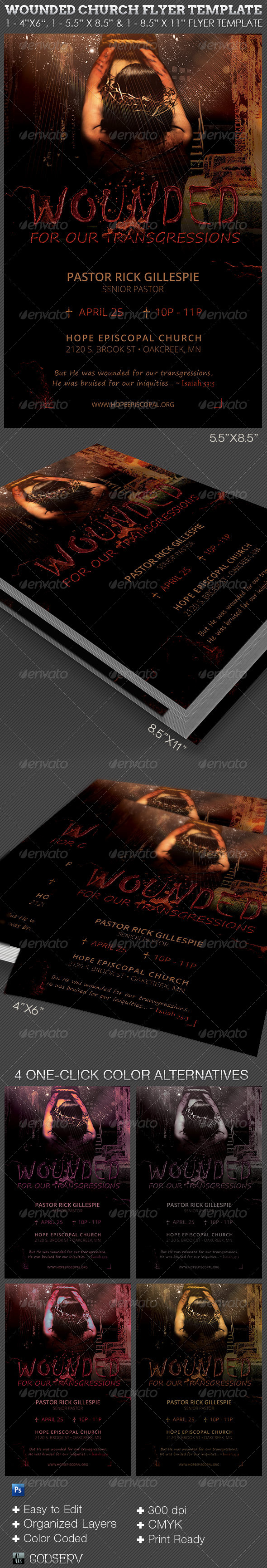 GraphicRiver Wounded Church Flyer Template 6824170