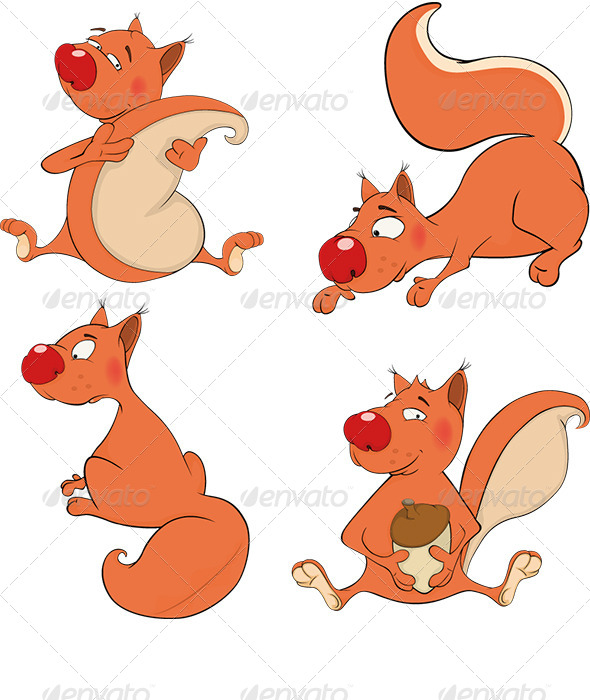 GraphicRiver Set of Squirrels Cartoon 6824182