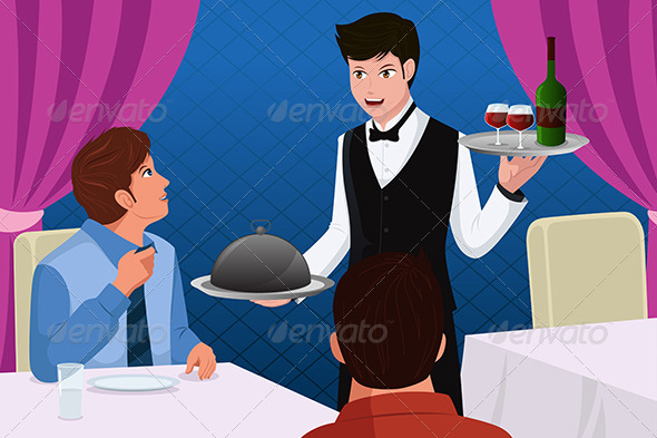 GraphicRiver Waiter in a Restaurant Serving Customers 6824374