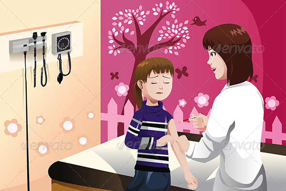 GraphicRiver Kid Getting a Flu Shot by a Doctor in the Arm 6824790