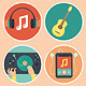 Music Icons and Signs in Flat Style - GraphicRiver Item for Sale