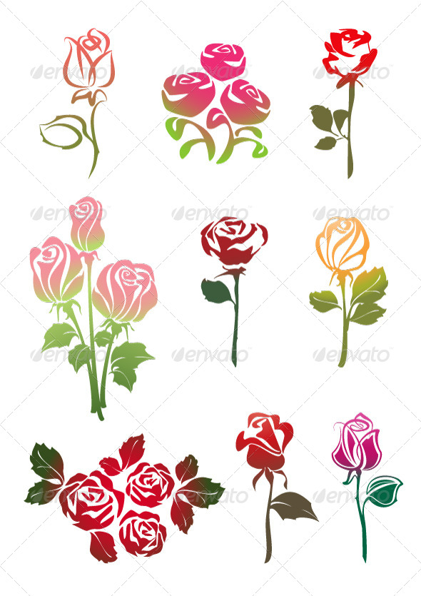 GraphicRiver Icons Set of Colored Roses 6826173