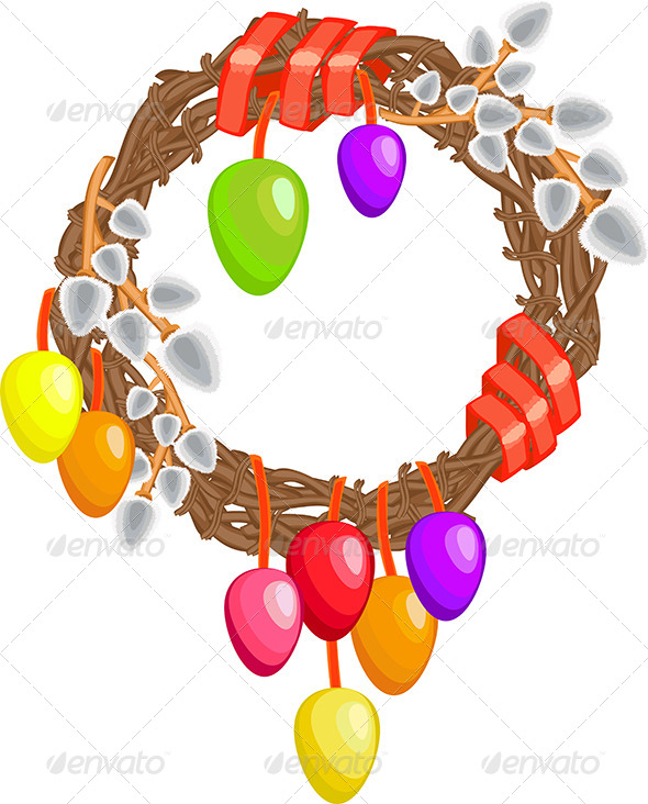 GraphicRiver Easter Wreath with Willows Eggs and Ribbon 6826387