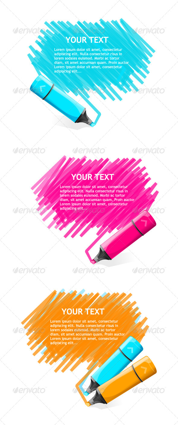 GraphicRiver Markers Text Boxes Set 6826643