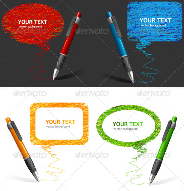 GraphicRiver Pen Text Bubbles Set 6826684