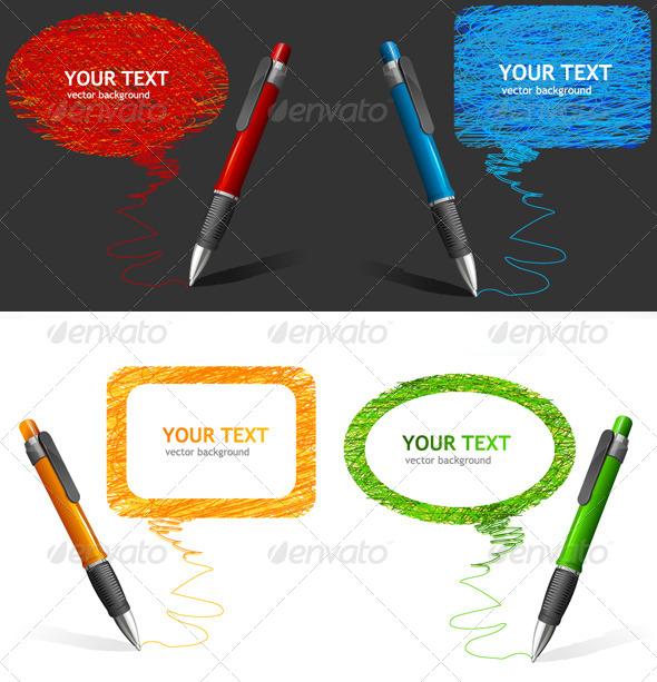 GraphicRiver Pen Text Bubbles Set 6826684