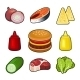 Burger Icons Set - GraphicRiver Item for Sale