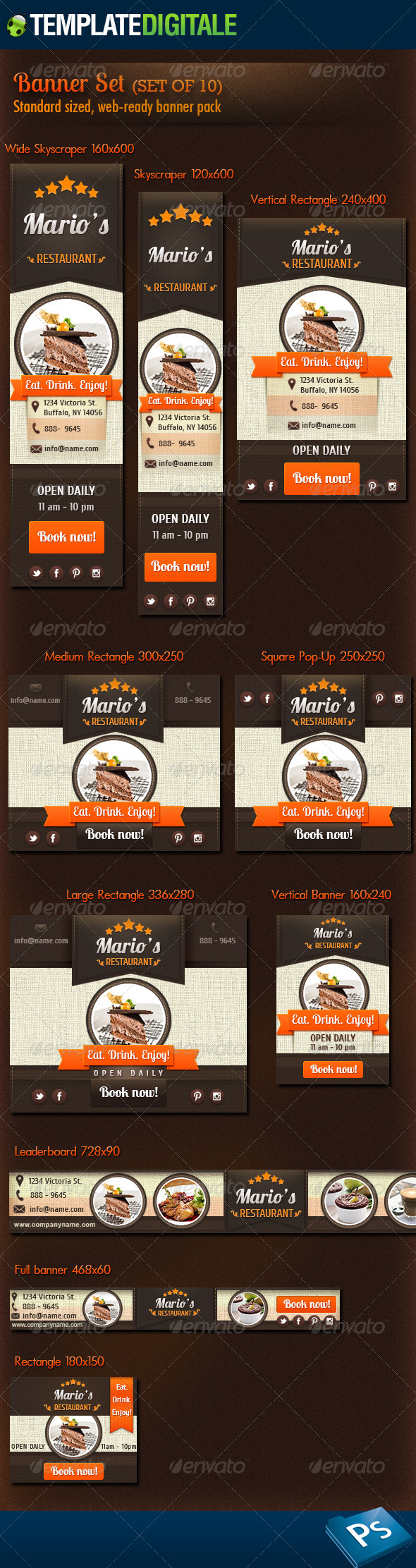GraphicRiver Restaurant and Coffee Banner Set 6828076