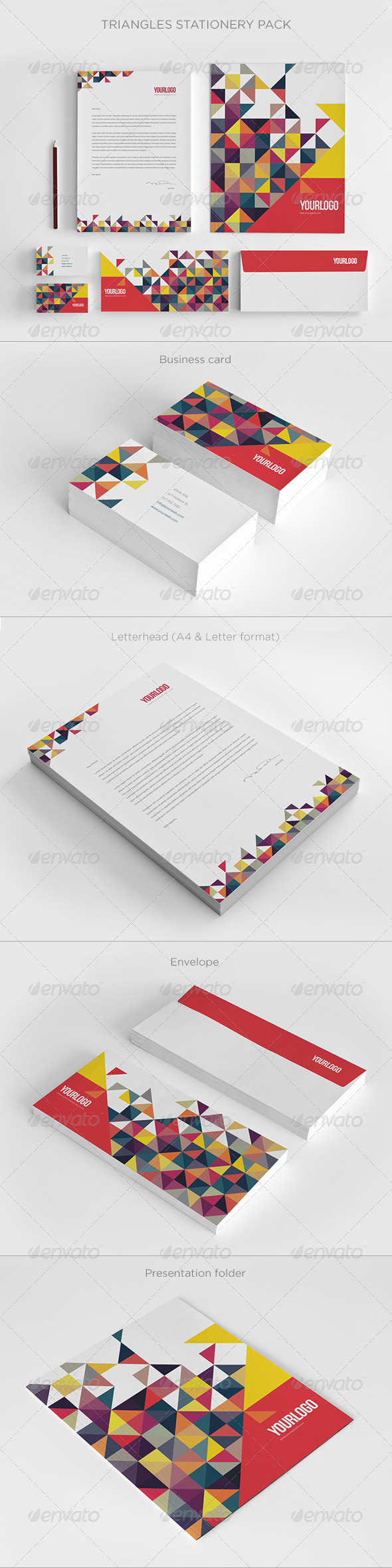 GraphicRiver Colorful Triangles Stationery 6828143