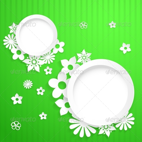 GraphicRiver Background with Circles and Paper Flowers 6828773