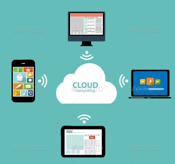 GraphicRiver Cloud Computing on Different Electronic Devices 6828809