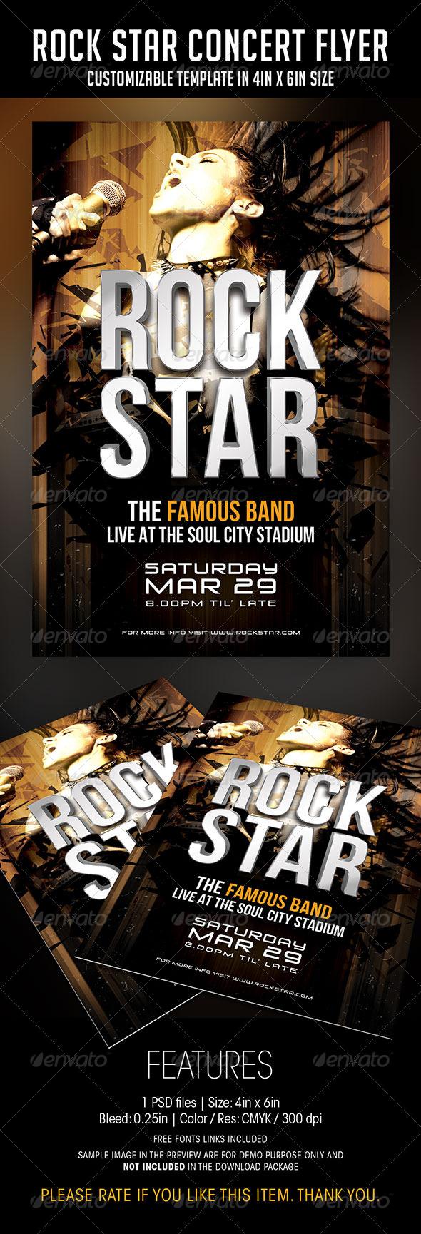 GraphicRiver Rock Star Concert Flyer 6828842