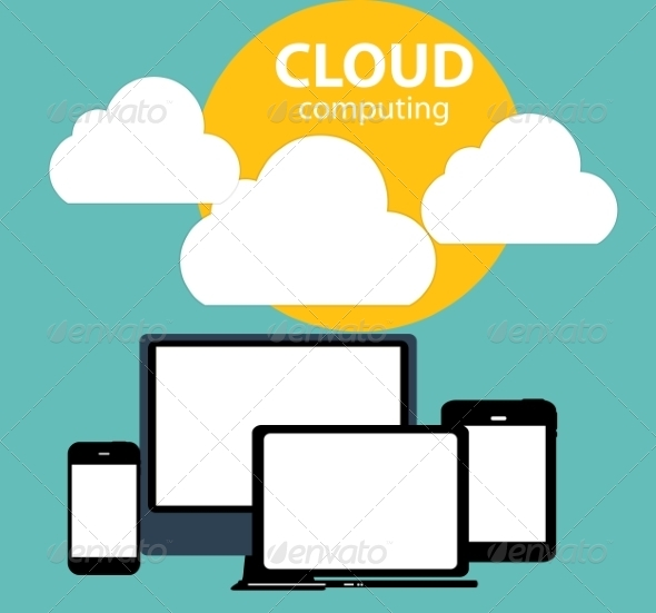 GraphicRiver Cloud Computing Concept on Different Electronic 6828890