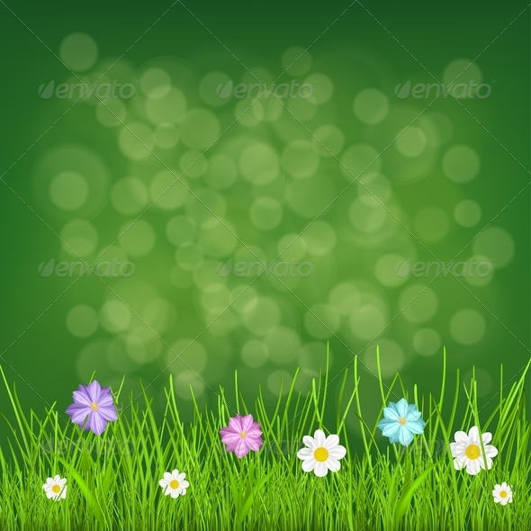 GraphicRiver Background with Grass and Flowers 6829003
