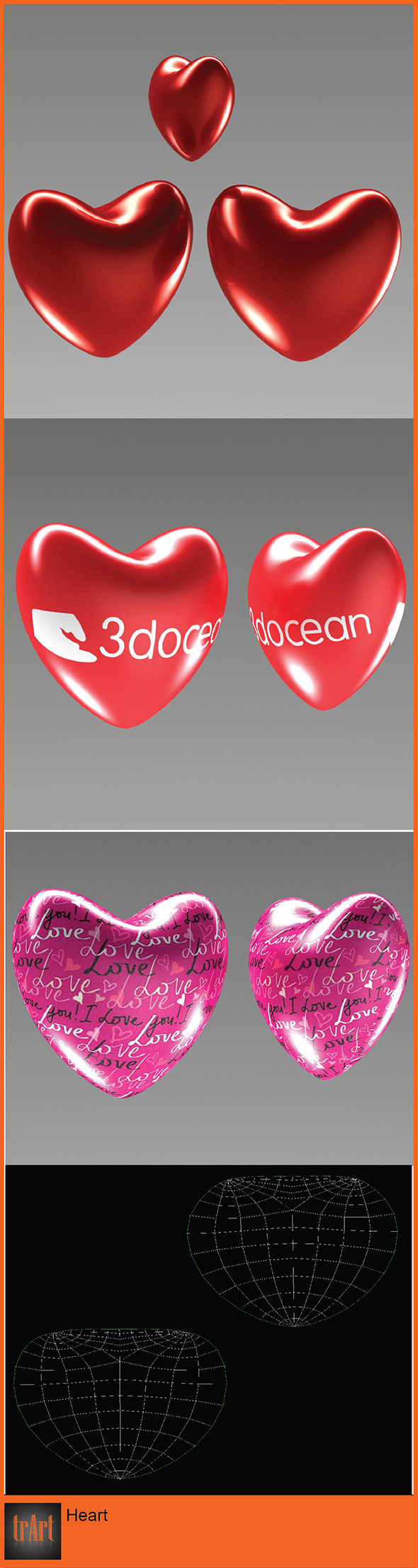 3DOcean 3D love heart valentines day 6829351