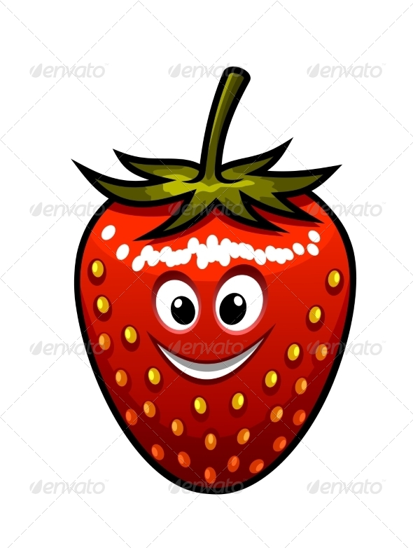 GraphicRiver Smiling Strawberry with a Green Stalk 6831368