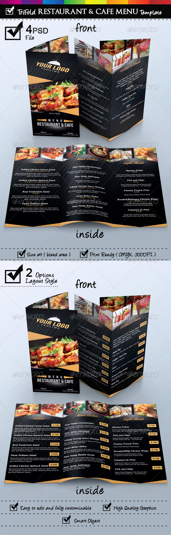 GraphicRiver Trifold Restaurant & Cafe Menu Template 6832892