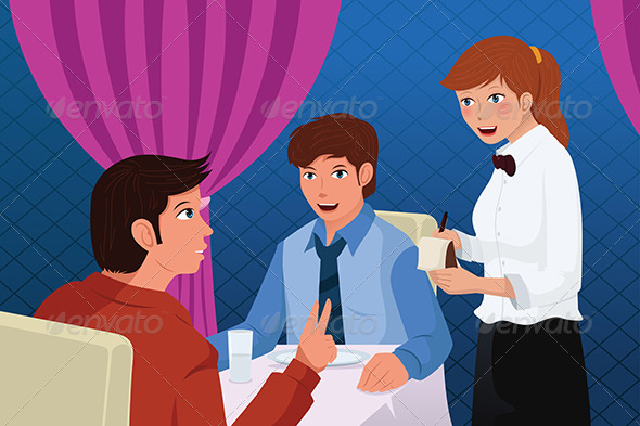 GraphicRiver Waiter in a Restaurant Serving Customers 6833814