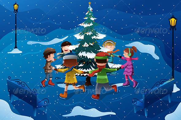 GraphicRiver Children Skating Around a Christmas Tree 6834206