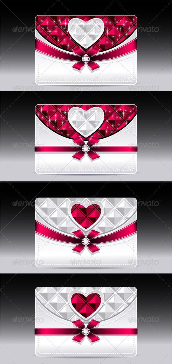 GraphicRiver Gift Cards with Heart Geometric Pattern Red Bow 6834407