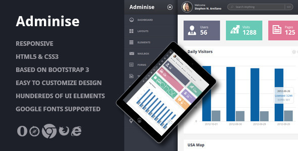 Adminise - Corporate Admin Panel Template - Admin Templates Site Templates