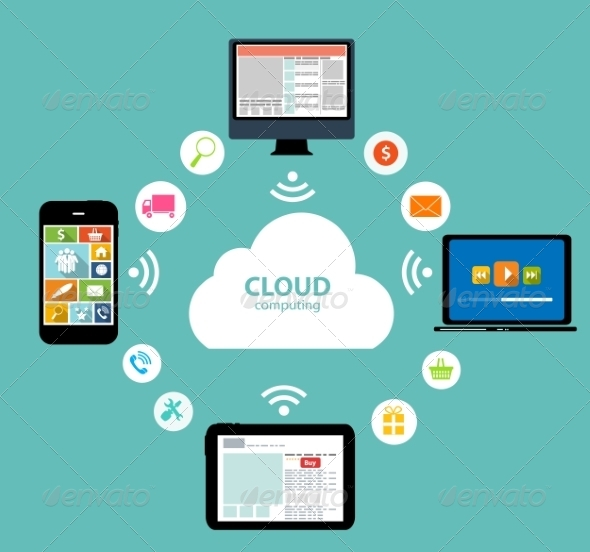 GraphicRiver Cloud Computing Concept on Different Electronic De 6835980